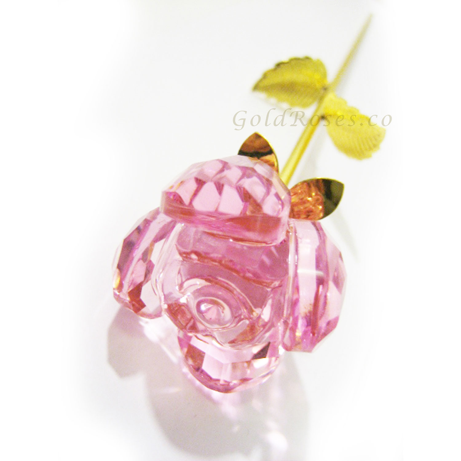 Cute pink crystal gold trim rose crcpk9 gold roses pink crystal rose front mightylinksfo